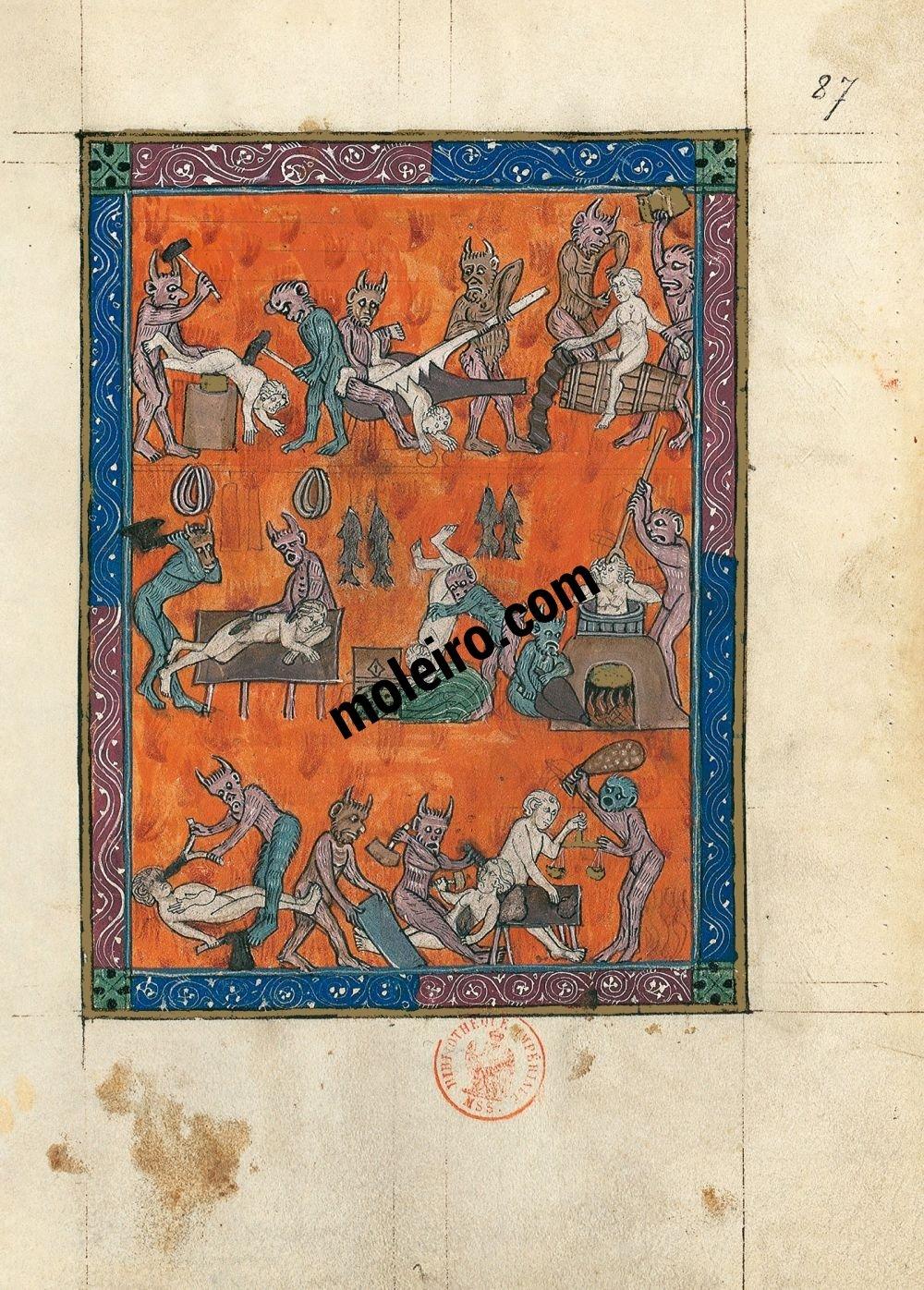 Apocalipsis 1313 f. 87r, El infierno de los oficios