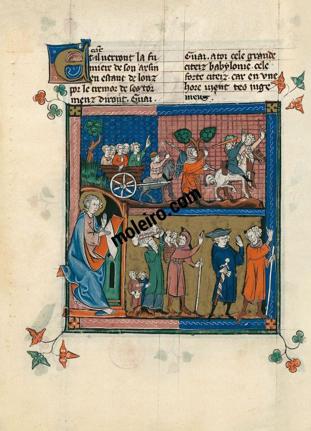 The Apocalypse of 1313 f. 60v, Babylon abandoned (Ap. 18, 4-9a)