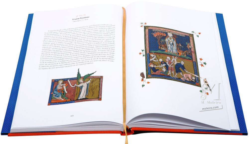 The Apocalypse of 1313 Folios 55v-56 The great harlot (Rev. 17: 3b-6)