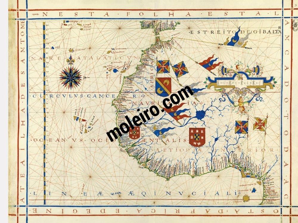 Atlas universal de Fernão Vaz Dourado Mapa 3: Noroeste de África y sur de la Península Ibérica