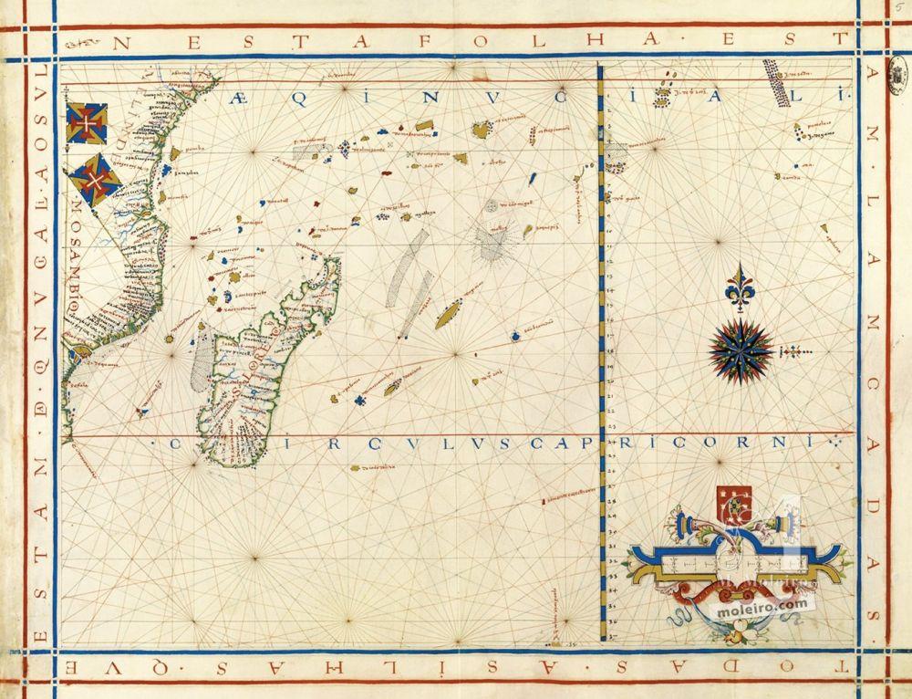 Weltatlas des Fernão Vaz Dourado Landkarte 5: Südafrikanische Ostküste und Madagaskar