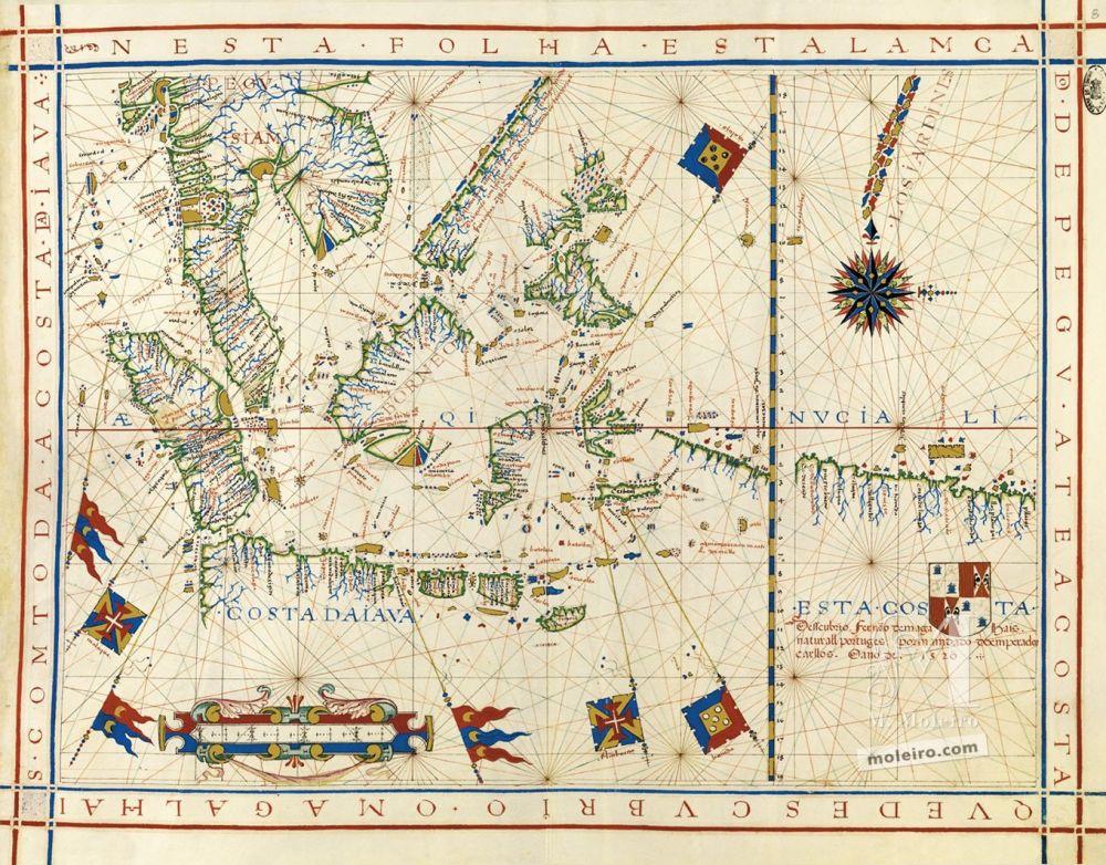 Universal Atlas of Fernão Vaz Dourado Map No. 8. Southeast Asia and the coast discovered by Ferdinand Magellan up to the coast of Java