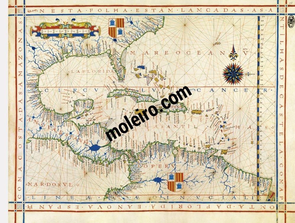 Atlas universel de Fernão Vaz Dourado Carte 11: Les Antilles, l'Amérique Centrale et l'Amérique du Sud jusqu'à l'Amazonie