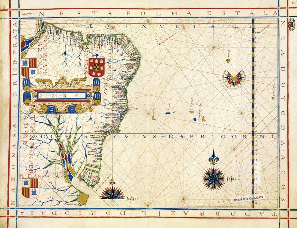 Atlas universel de Fernão Vaz Dourado Carte 12: La côte du Brésil