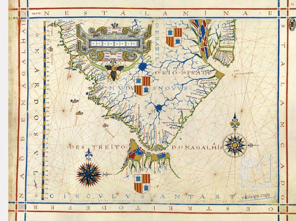 Atlas universel de Fernão Vaz Dourado Carte 13: Le détroit de Magellan