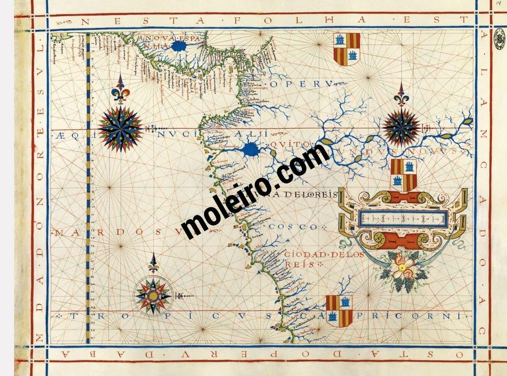 Atlas universal de Fernão Vaz Dourado Mapa 14: Centroamérica y costa occidental de América del Sur