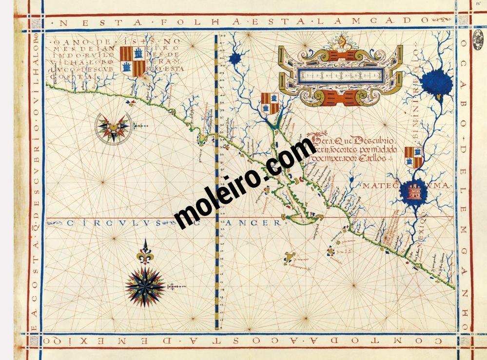 Universal Atlas of Fernão Vaz Dourado Map No. 15. Coast of Mexico