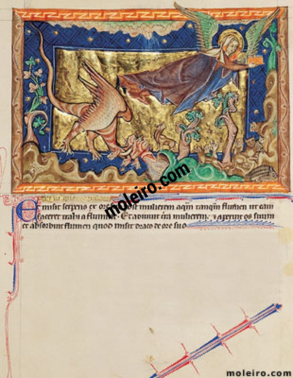 Gulbenkian Apocalypse f. 32r, The dragon casts out the flood at the woman