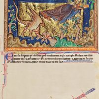 f. 32r, The dragon casts out the flood at the woman