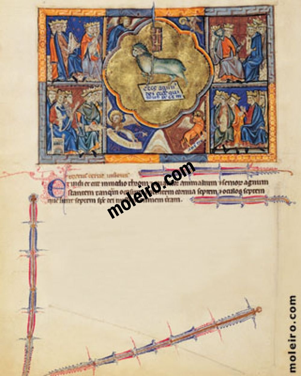 Gulbenkian Apocalypse f. 5v, The vision of the Lamb in heaven