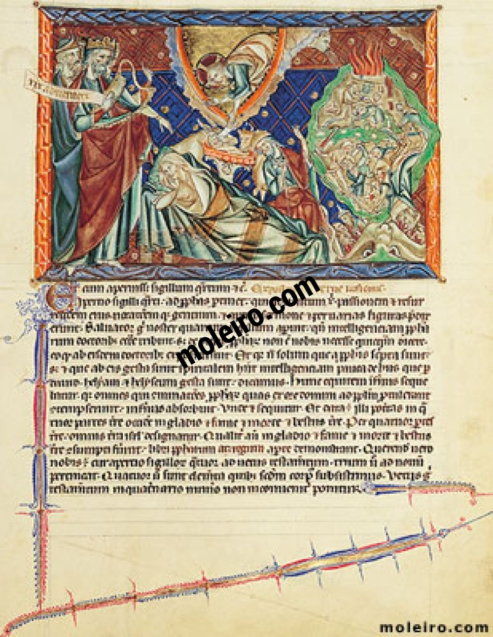 Gulbenkian Apocalypse f. 11r, Prophets foretelling Christ's Nativity and the destrucción of Israel