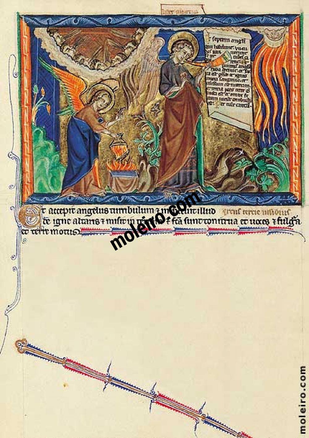 Apokalypse Gulbenkian f. 16v, Der Engel leert seine Räucherpfanne über der Erde aus; die erste Posaune: der Feuerregen über die Erde