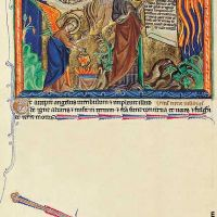 f. 16v, The angel empties the censer on the earth; the first trumpet: The rain of Fire upon the earth