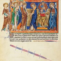f. 15v, The seventh seal: the giving of the trumpet; the angel censes the altar in the heaven