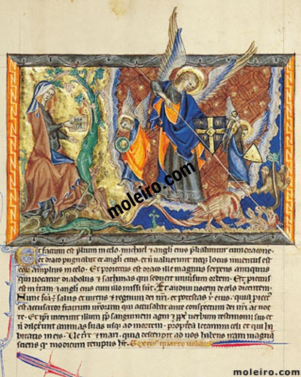 Apokalypse Gulbenkian f. 30r, Die Frau in der Wüste; der Krieg im Himmel