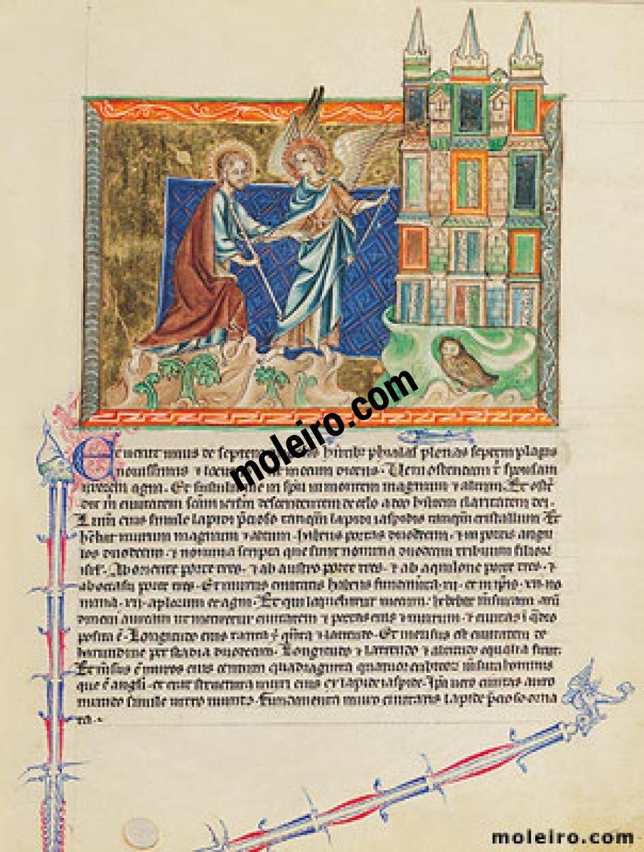 Gulbenkian Apocalypse f. 74r, The angel shows St. John the heavenly Jerusalem