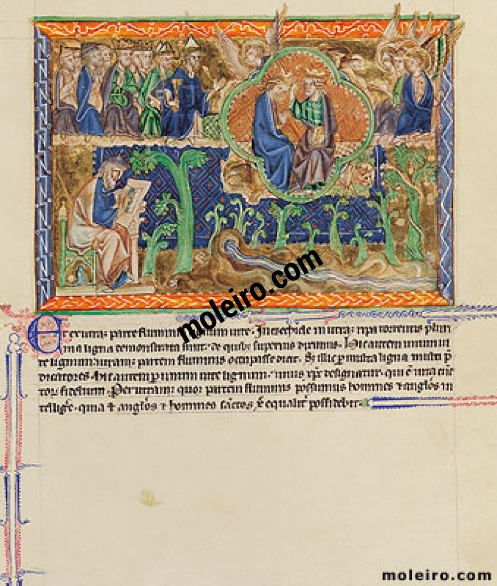 Gulbenkian Apocalypse f. 75r, The vision of Ezekiel; Christ's equal possession of angel and holy men