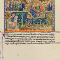 f. 75r, The vision of Ezekiel; Christ's equal possession of angel and holy men