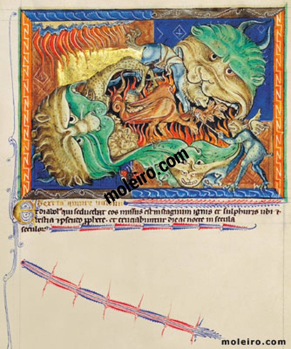 Gulbenkian Apocalypse f. 71r, The dragon cast into Hell