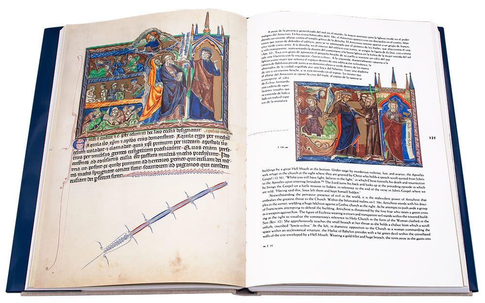 Fotografía de las páginas 124 y 125 con Cristo llevando el Evangelio a Judea y la Santa Iglesia perseguida por el Anticristo.