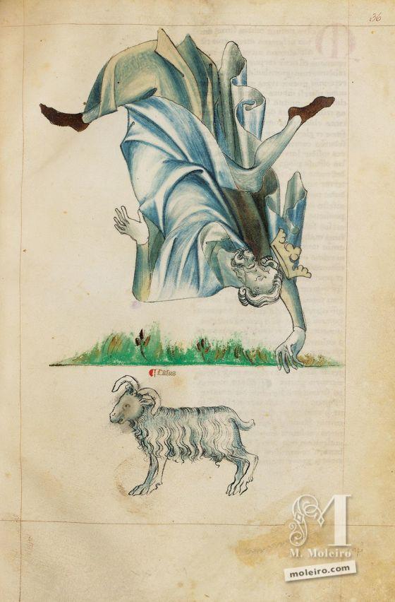 La caída de Jupiter en el Tratado de Albumasar (Liber astrologiae), Sloane Ms. 3983, mediados del siglo XIV.