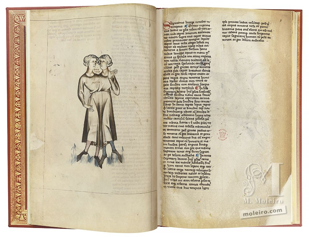 The image shows two folios from the Albumazar Treatise, where we can see the representation of the sign of Gemini