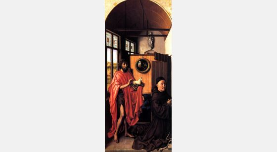 El Arte en el Renacimiento Robert Campin, St John the Baptist and the Franciscan master Henry of Werl (left panel of the Werl Triptych), Madrid, Museo del Prado