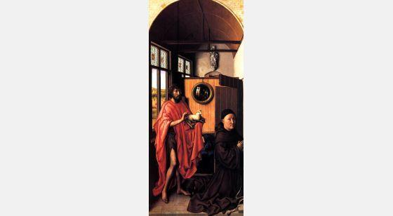 El Arte en el Renacimiento Robert Campin, João Batista e do maestro franciscanoEnrique Werl (lado esquerdo da Werl Triptych), Madrid, Museo del Prado