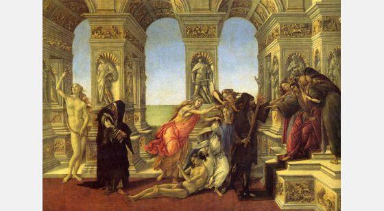El Arte en el Renacimiento Sandro Botticelli, La calomnie, Florence, Galerie des Offices.
