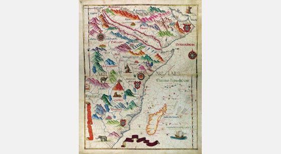 Mapa da África Oriental do Atlas Universal, de Diogo Homem