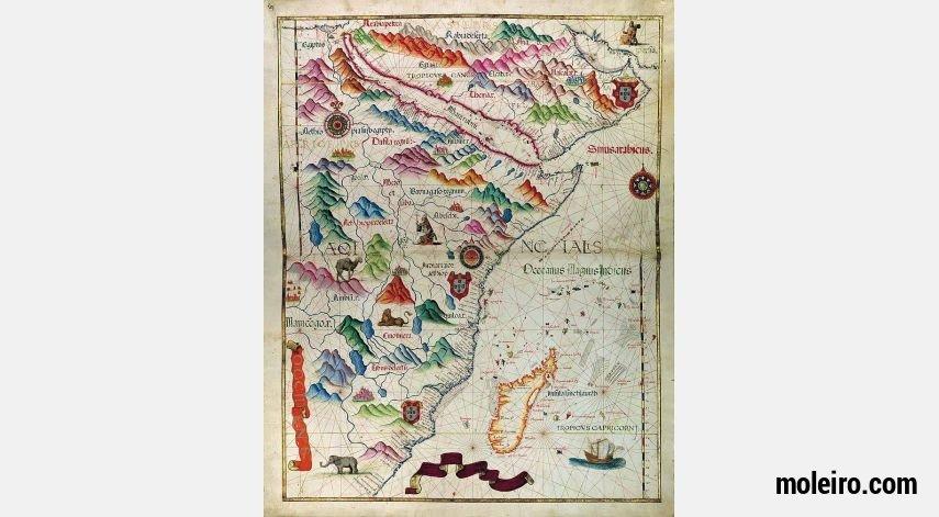 Mapa del Este de África del Atlas Universal, de Diogo Homem. 1 mapa casi-original