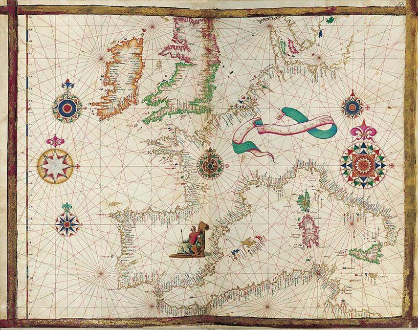 Mapa del Oeste de Europa del Atlas Universal, de Diogo Homem 1 mapa casi-original