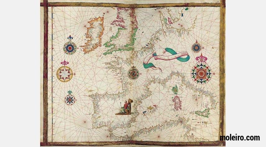Landkarte Westeuropas aus dem Weltatlas von Diogo Homem 1 Faksimilelandkarte