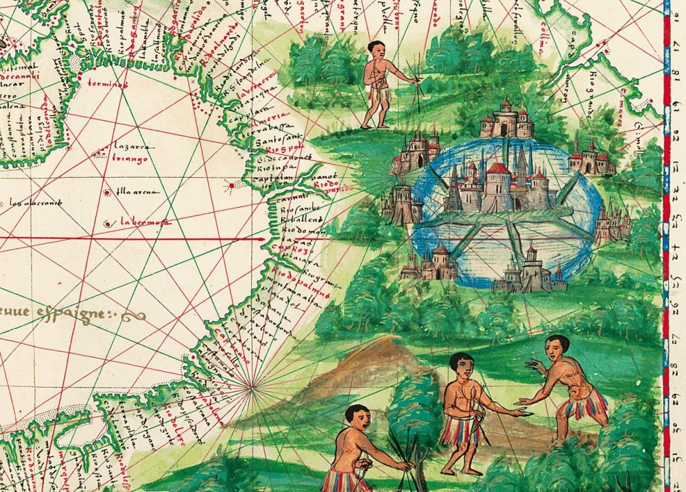 Map of Central America and the Antilles from Atlas Vallard