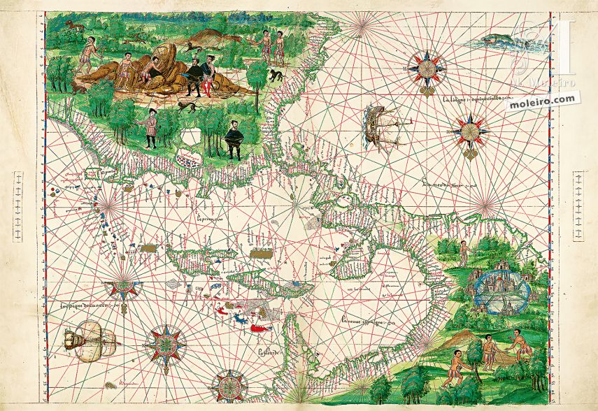 Map of Central America and the Antilles from Atlas Vallard 1 IDENTICAL ILLUMINATION