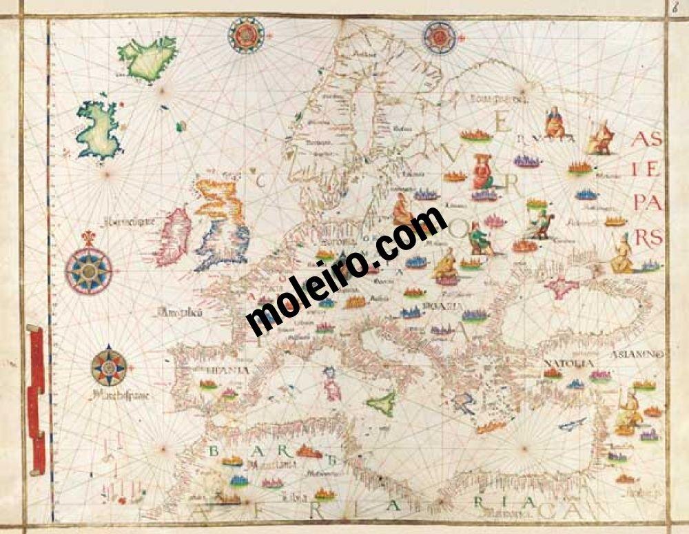 Mapa de Europa del Atlas Universal, de Diogo Homem Oeste de Europa