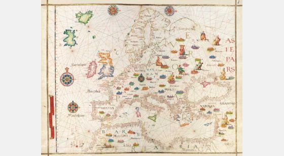 Map of Europe from Diogo Homem´s Universal Atlas West Europe