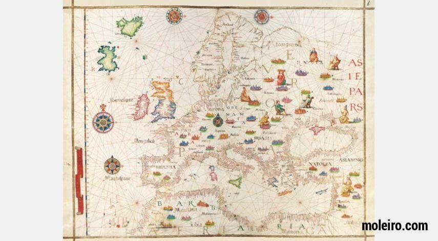 Map of Europe from Diogo Homem´s Universal Atlas 1 identical illumination