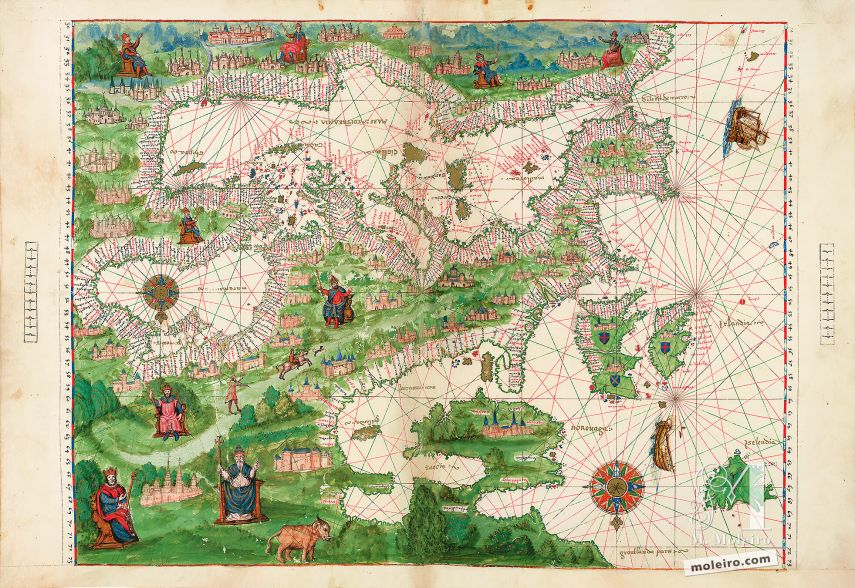 Map of Europe and NorthAfrica from Atlas Vallard 1 IDENTICAL ILLUMINATION