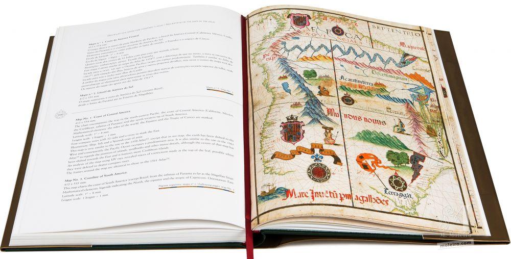 Atlas Universal de Diogo Homen Mapa del Litoral de América del Sur, en el libro de arte del Atlas Universal de Diogo Homem (S. XVI)