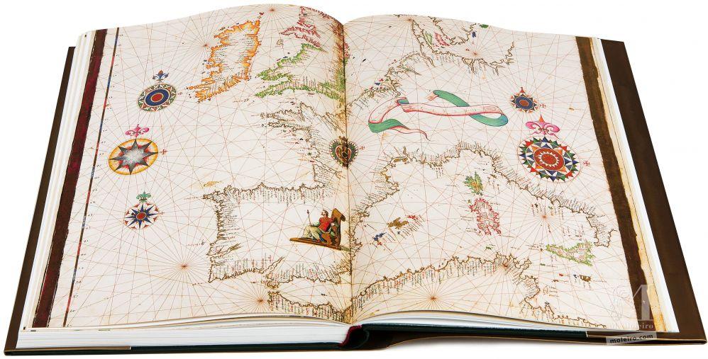 Atlas Universal de Diogo Homen Mapa del Litoral de Europa Occidental y Mediterráneo, el el libro de arte del Atlas Universal de Diogo Homem (S. XVI)
