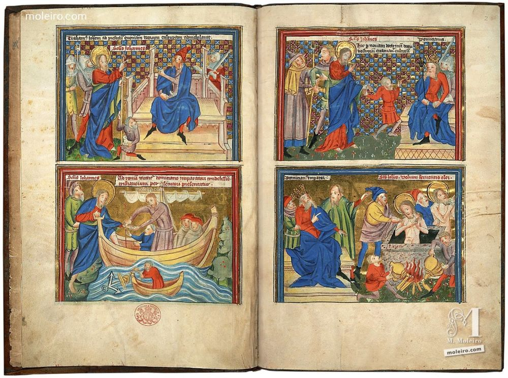 Miniatures from the Picture-book of the Life of St John and the Apocalypse, Add. Ms. 38121 (c. 1400, North of France or South of the Netherlands). The British Library, London. Illuminated manuscript from the Middle Ages.