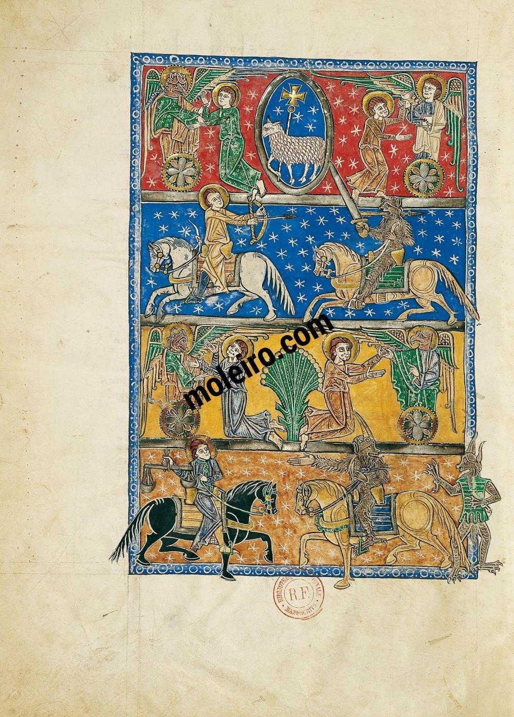Beato de Liébana, códice del Monasterio de San Andrés de Arroyo, Palencia f. 70v, Apertura de los cuatro primeros sellos