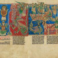ff. 110v-111r, Die als Sonne bekleidete Frau und der Drache