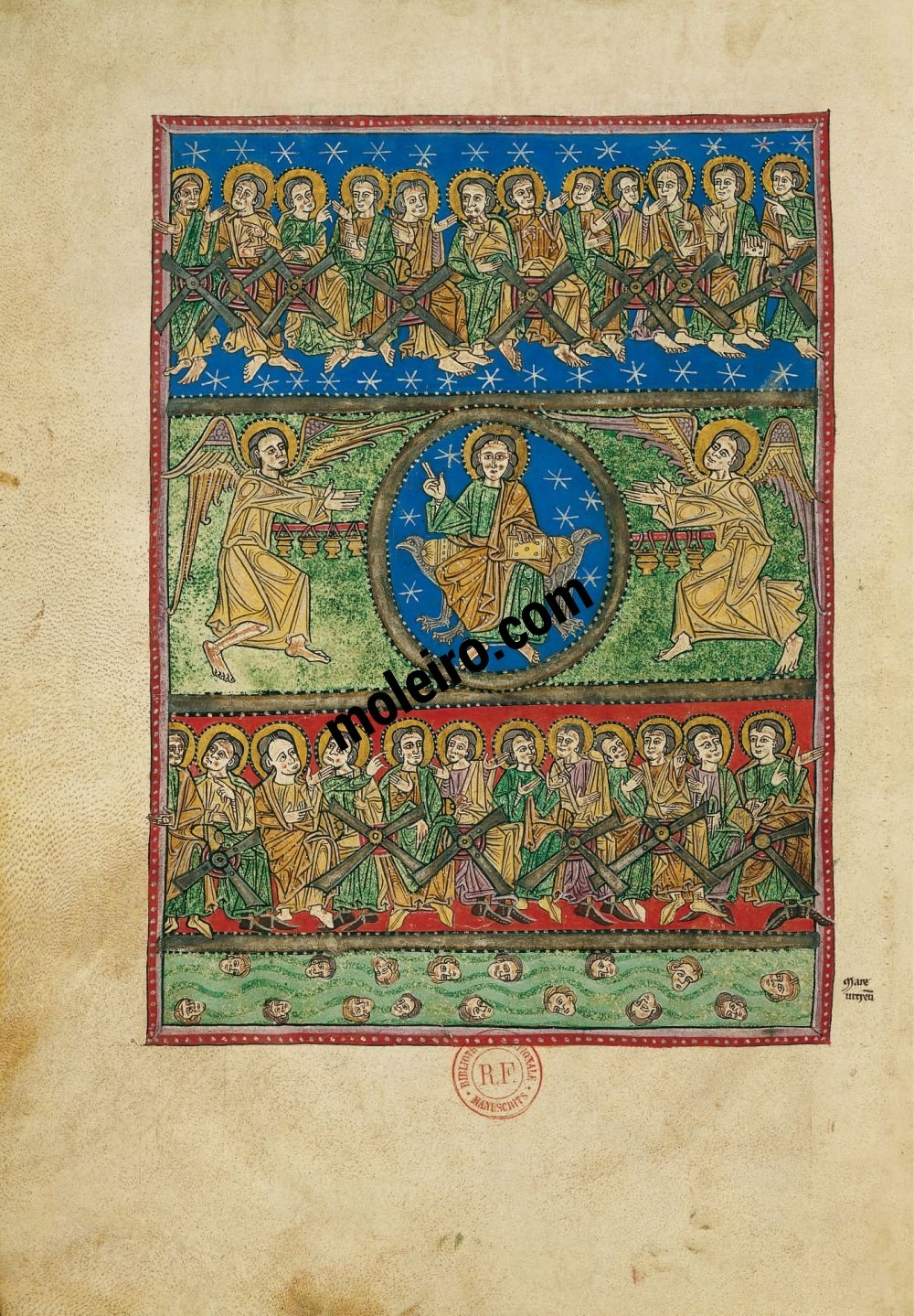 Arroyo Beatus f. 53v, Vision of God in the Sky