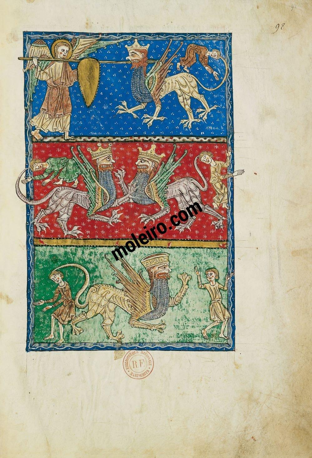 Beato de Liébana, códice del Monasterio de San Andrés de Arroyo, Palencia f. 98r, El ángel del abismo y las langostas infernales