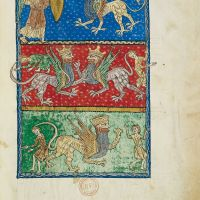 f. 98r, The angel of the abyss and the infernal locusts