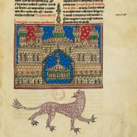 f. 109r, The Temple with the arc of the Covenant and the beast from the abyss