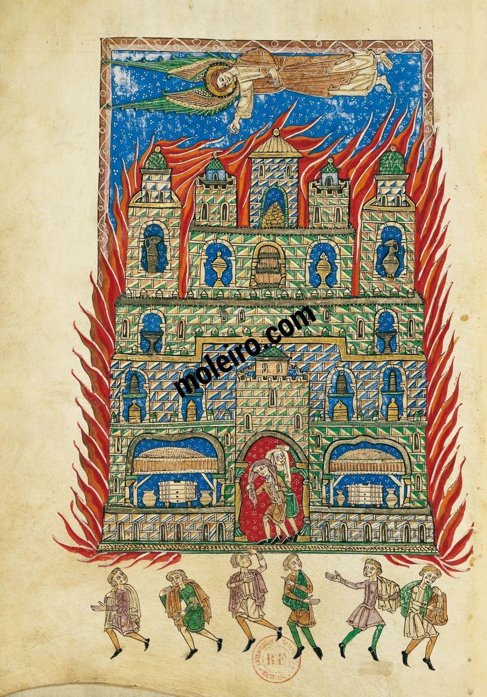 Beato de Liébana, códice del Monasterio de San Andrés de Arroyo, Palencia f. 147v, El fuego de Babilonia