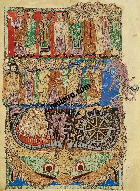 Beato de Liébana, códice del Monasterio de San Andrés de Arroyo, Palencia f. 160r, El Juicio Final
